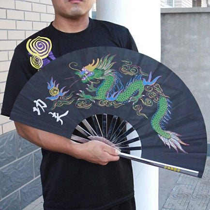 Black Dragon Metal Tai Chi Fan - Wudang Store