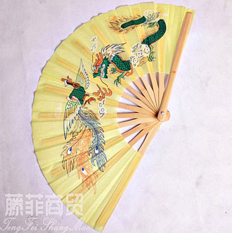 Tai Chi Fan Dragon & Phoenix Tender Yellow - Wudang Store
