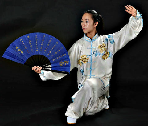 tai chi fan blue