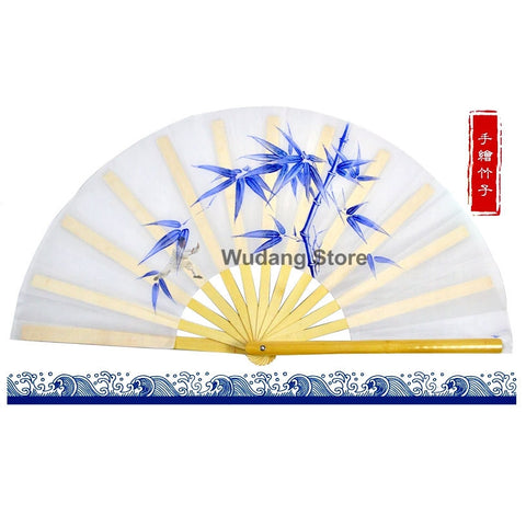 Hand-Painted Tai Chi Fan Bamboo Leaves - Wudang Store