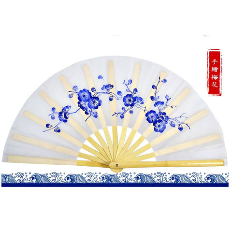 Hand-Painted Tai Chi Fan Plum Blossoms - Wudang Store