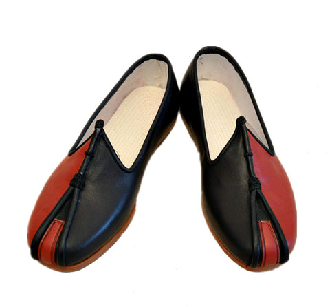 Traditional Beijing Black/Red Leather Sole Tai Chi Shoes [All Sizes]