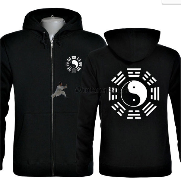 Black Hooded Bagua Zhang Sweather with Zip - Wudang Store