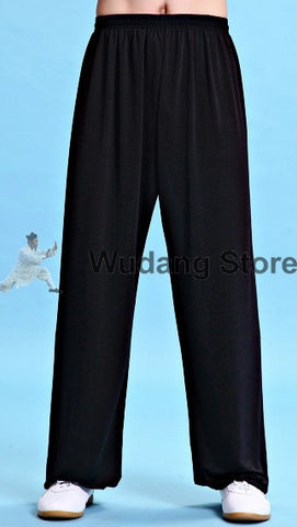 Black Traditional Elastic Sport Function Tai Chi Pants XS-XXXL