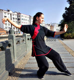 100% Silk Black & Red Tai Chi Performance Uniform