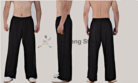 Traditional Black Sport Function High Elastic Tai Chi Pants S-XXXL