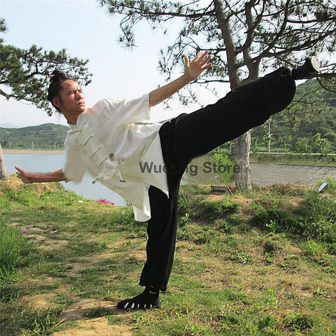 Black & White Short Sleeved Tai Chi Uniform - Wudang Store