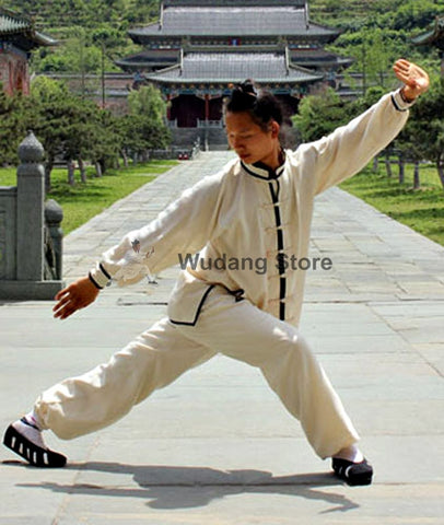 White Tai Chi Uniform Black Outerlines - Wudang Store