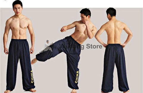 Navy Blue Sport Function High Elastic Tai Chi Pants S-XXXL - Wudang Store