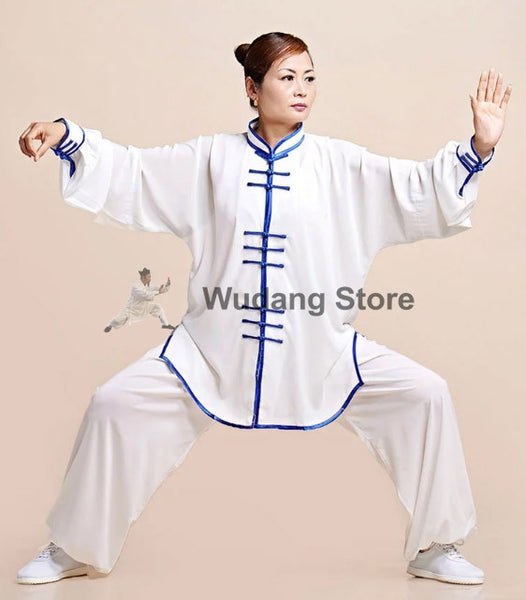 White Tai Chi Uniform Blue Glossy Satin Outerlines