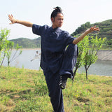 Navy Blue Short Sleeved Tai Chi Uniform - Wudang Store