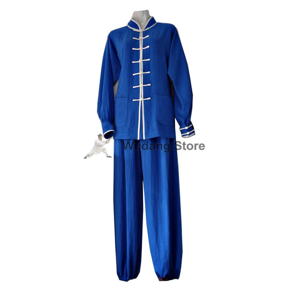 Azure Blue Tai Chi Uniform White Outerlines - Wudang Store