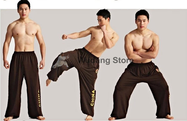 Brown Sport Function High Elastic Tai Chi Pants S-XXXL