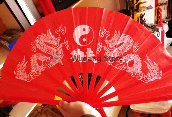Red Tai Chi Dragon Fan