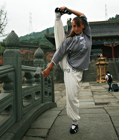 Grey & White Tai Chi Uniform Dragon Sewing