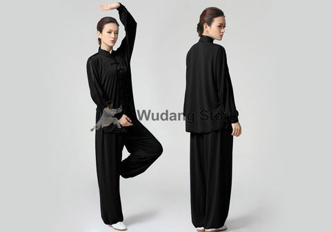 Black Tai Chi Uniform Glossy Outerlines