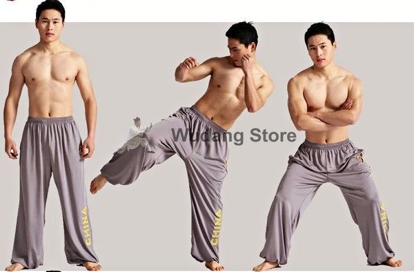 Grey Sport Function High Elastic Tai Chi Pants S-XXXL