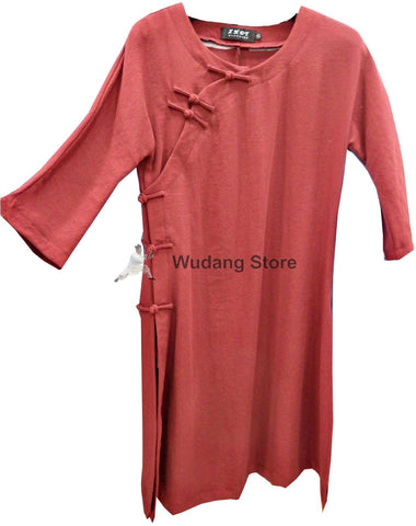 Maroon Round Collar Tai Chi Shirt for Women - Wudang Store