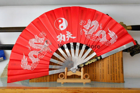Red Metal Dragon Kung Fu Fan - Wudang Store
