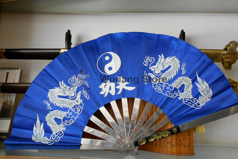 Blue Metal Dragon Kung Fu Fan