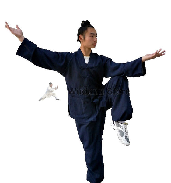 Dark Blue Tai Chi Uniform V-Collar