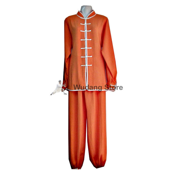 Orange Tai Chi Uniform White Outerlines - Wudang Store