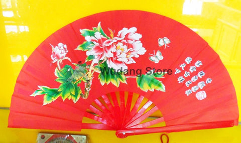 "Red Tai Chi Fan ""Peony Flowers"""