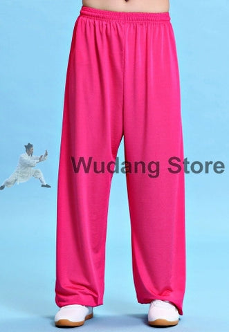 Pink Traditional Elastic Sport Function Tai Chi Pants XS-XXXL