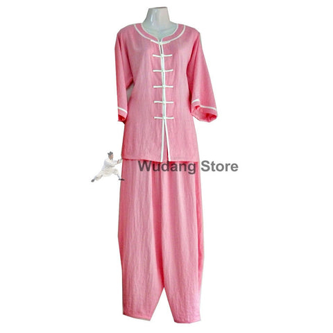 Light Pink Feminine Tai Chi Uniform White Outerlines - Wudang Store