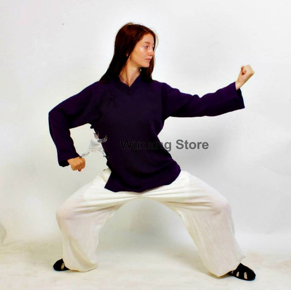 Purple Shirt White Pants Feminine Tai Chi Suit