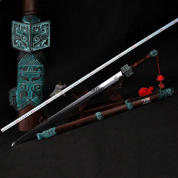 Ancient Style Qin Dynasty Tai Chi Jian Pattern Steel/ Carbon Steel