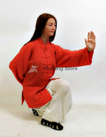 Red Shirt White Pants Tai Chi Suit - Wudang Store