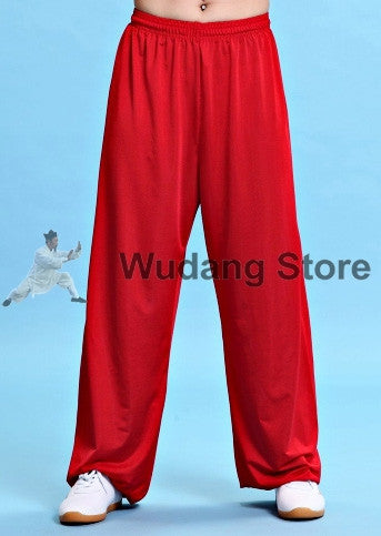 Red Traditional Elastic Sport Function Tai Chi Pants XS-XXXL