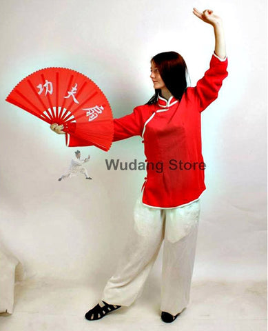 Red Shirt White Pants Feminine Tai Chi Uniform - Wudang Store
