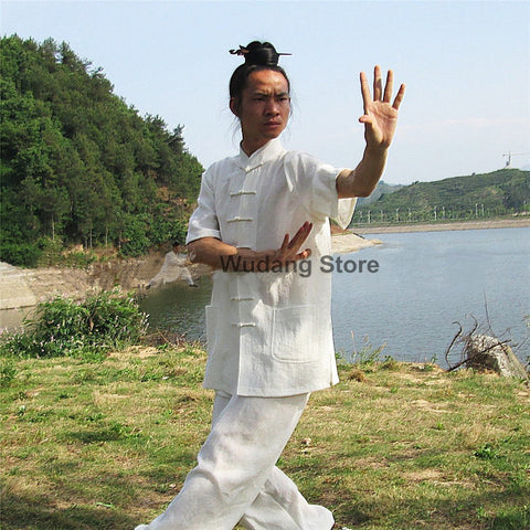 White Short Sleeved Tai Chi Uniform - Wudang Store