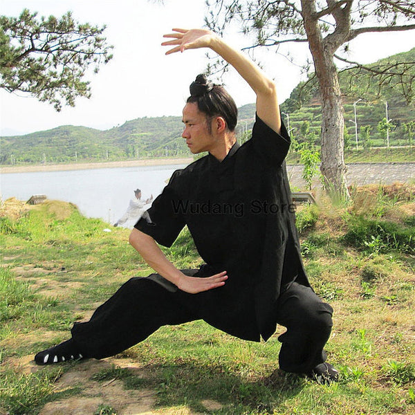 Black Short Sleeved Tai Chi Uniform