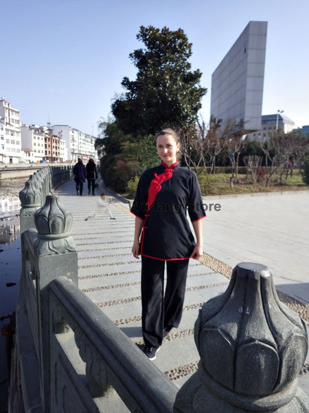 100% Silk Black & Red Tai Chi Performance Uniform - Wudang Store