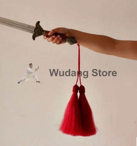 Hand-Woven Real Horse Hair Red Sword Tassel - Wudang Store