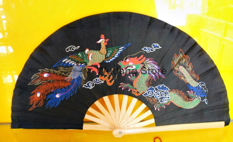 "Black Tai Chi Fan ""Dragon & Phoenix"""