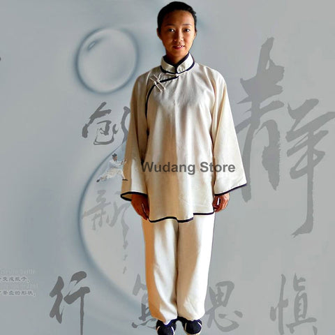 White Feminine Tai Chi Uniform Black Outerlines - Wudang Store