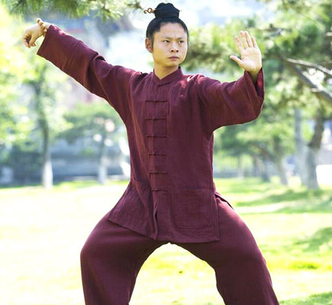 Handmade Maroon Wudang Tai Chi Uniform Open Sleeves