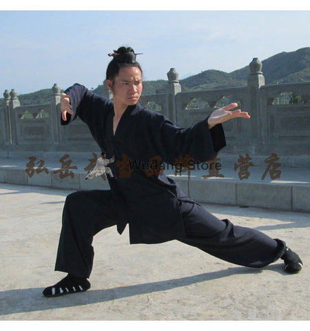 Black Tai Chi Uniform V-Collar - Wudang Store