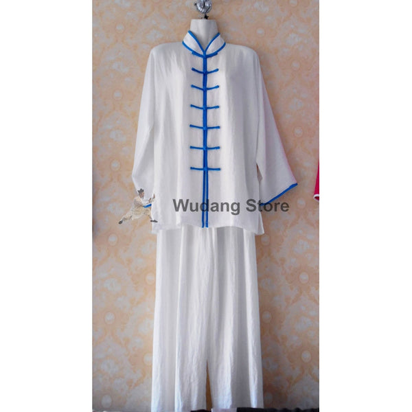 White Tai Chi Uniform Blue Outerlines - Wudang Store
