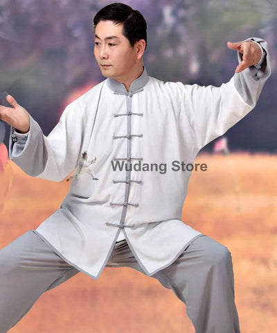 White & Grey Tai Chi Uniform - Wudang Store