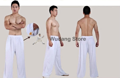 Traditional White Sport Function High Elastic Tai Chi Pants S-XXXL
