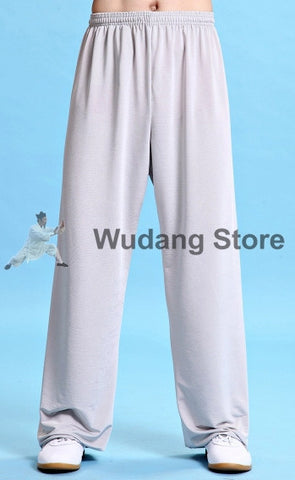 White Traditional Elastic Sport Function Tai Chi Pants XS-XXXL