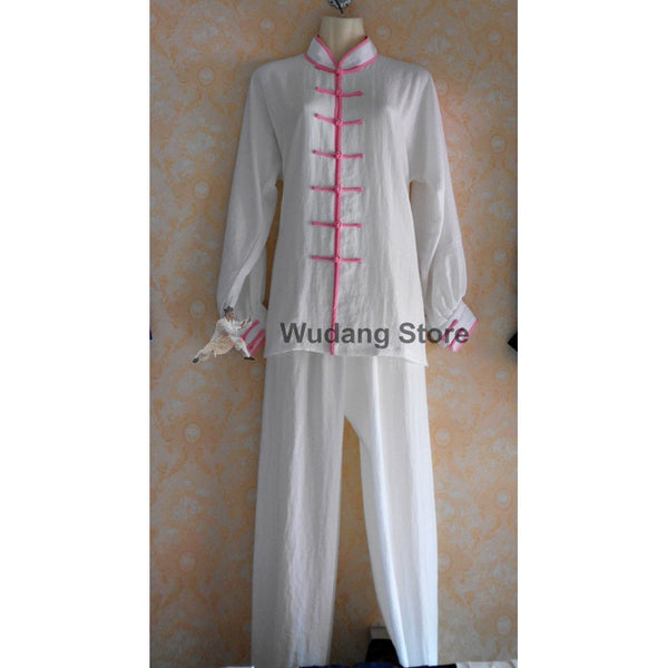 White Tai Chi Uniform Pink Outerlines
