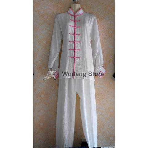 White Tai Chi Uniform Pink Outerlines - Wudang Store
