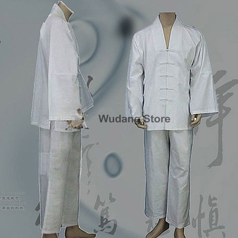 White Tai Chi Uniform V-Collar - Wudang Store