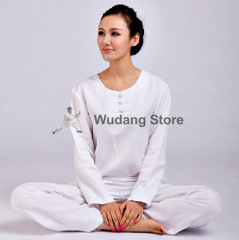 White Round Collar Tai Chi Uniform